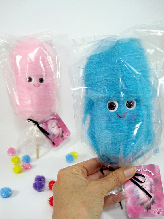 Two little cotton candies...one pink and one blue