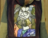 JErry Garcia Stained Glass applique Corduroy hoodie Patchwork Men's large XL