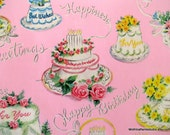 Vintage gift wrapping PAPER pinks blues birthday cake kittens blue polka dots