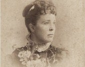Sale - ANTIQUE CABINET PHOTO - Lovely Lady with Flowers - Champaign Illinois