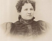 An 1800's Curly Haired Granny -  Antique CABINET PHOTO of Granny Schafer from Argyle Pennsylvania - Wearing a Puffy Sleeved Dress with a Beaded Collar