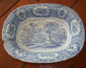 Charming 1800's Blue TRANSFERWARE SERVING BOWL - English Staffordshire Oriental Pattern Back Stamp - Lovely Vegetable Bowl