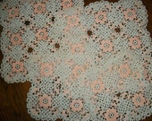 Lovely ANTIQUE LACE LOT - Four Fancy Crocheted Lace Doily Mats , Table Accents - Nice lot of  Flower Doilies