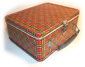 Vintage Antique PLAID LUNCH BOX - Red Plaid Ohio Art Metal Lunchbox - Lunch pail - nice 1950's storage