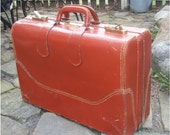 Super VINTAGE LEATHER SUITCASE - Retro Antique Leather Bag, Luggage, Briefcase for stacking, storage, display and more