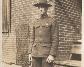 Super ANTIQUE MILITARY PHOTO - A Young 1920's Soldier in his Wool Uniform and Hat standing at attention - great army shot