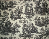 Classic Black and White WAVERLY TOILE FABRIC - Country Life - Drapery Fabric, Country French- Shabby Chic Charm - 1 yds