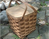 Charming Vintage OAK PICNIC BASKET - Splint Oak Wood with Hinged Top - unusual square shape