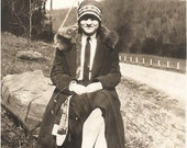Great VINTAGE FLAPPER PHOTO - a stylish Young Flapper Gal in her necktie, fur trimmed coat and knit cap - - great 1920's fashion shot
