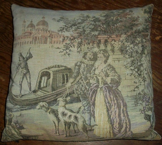 Victorian Tapestry Pillows : Items similar to Sale-Lovely ANTIQUE TAPESTRY PILLOW - Romantic French Tapestry of Victorian ...