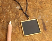 chalkboard pendant necklace-as seen in COUNTRY LIVING (rectangle rope border)