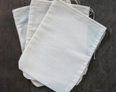 10 6x8 Natural Cotton Muslin Drawstring Bags