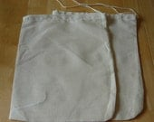 100 10.5x13 inch Cotton Muslin Drawstring Bags Hand Sewn