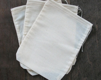 100 3x4 Natural Cotton Muslin Drawstring Bags