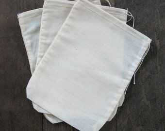 100 5x8 Natural Cotton Muslin Drawstring Bags