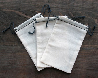 50 Mini 2.75 x 4 inch Cotton Muslin Bags with Black Hem and Black Double Drawstring