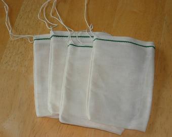25 3x5 inch Cotton Muslin GREEN Hem Drawstring Bags