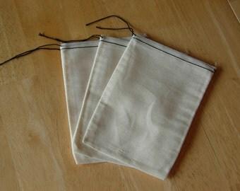50 6x8 Cotton Muslin Black Hem and Black Drawstring Bags