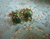 Emerald Scarab Cuff Links