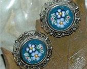 Vintage Mosaic Earrings Blue Clip-on