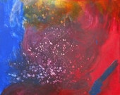 microcosm abstract color study, small fine art painting