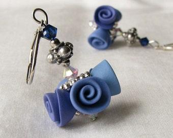 Li'l Bouquet Midnight Blue Roses Earrings