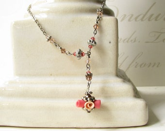 peachy-pink rose necklace