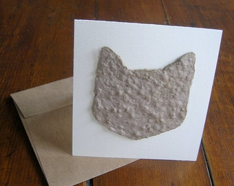 Pet sympathy card for a cat lover - Made from plantable seed paper and Chinese Forget-Me-Not seeds - Feline greeting card