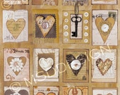5x7 MATTED PRINT Hearts Grid