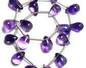 Strand of 17 Purple Moss AMETHYST Smooth Drop Briolettes -  9 to 10mm   (ref.15241)