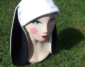 Black & White Fleece Bunny Rabbit Hat Snow Board Winter Hat Cap Anime