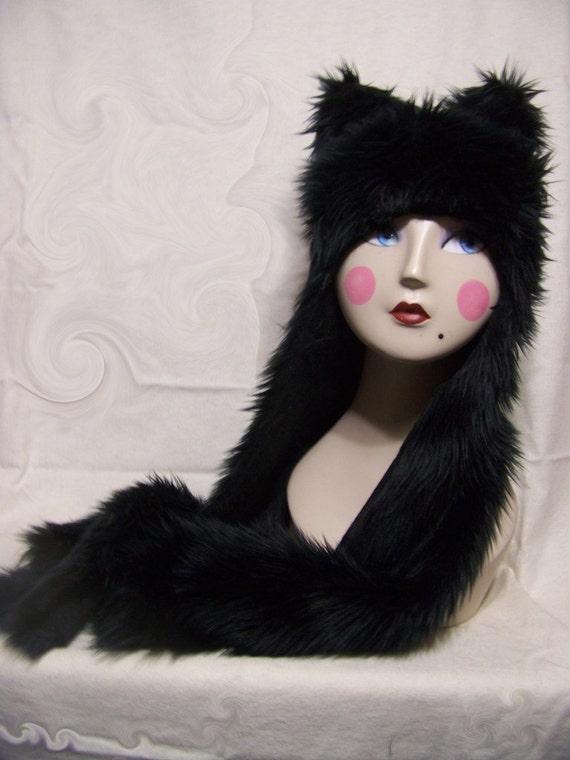 Black Cat Wolf Kitty Animal Ears Faux Spirit Fur Hood Furry Hat Halloween Costume