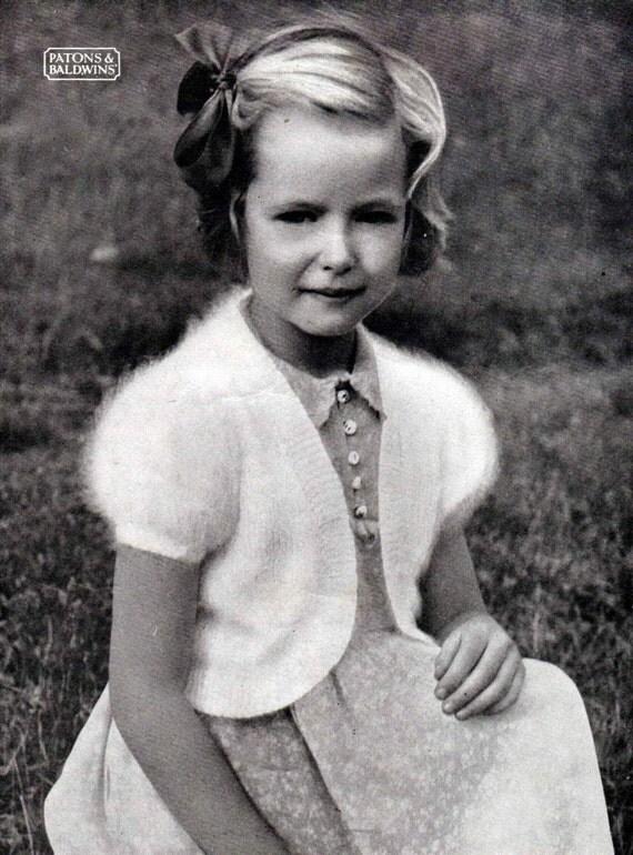 Vintage Knitting Pattern 1950s Little Girls Angora Bolero PDF Knitting Pattern