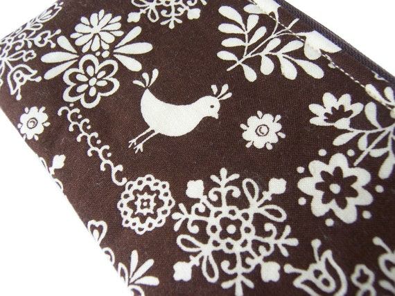 Folklore Collection, Birds and Flowers Cute Coin Purse - Brown