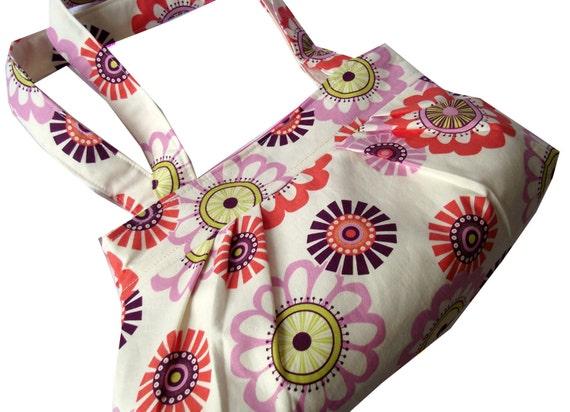 Reserved - Sugar Pop Scandi Flower  Pleated Shoulder Bag