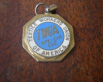 Unique Gift For Dad - Father's Day - Collectible Vintage Textile  Workers  Union of America - Key Chain Pendant -  Coin-Shaped