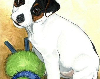 ACEO PRINT jack russel puppy MIKEY and a FUZZY FRIEND