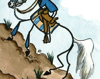 NEW STICK HORSE art ENDURANCE RIDER arabian