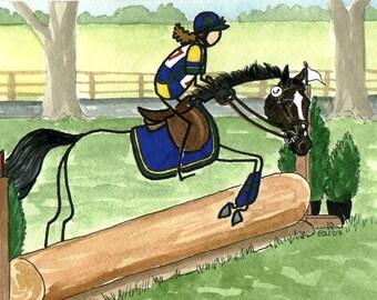 NEW STICK HORSE art NOVICE LEVEL EVENTING sweet