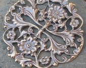 Round Filigree Brass Jewelry Findings Antiqued Brass Color 1306 - 6 pieces