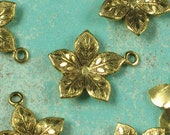 12 Antique Gold Plated Flower Charms Jewelry Finding 597