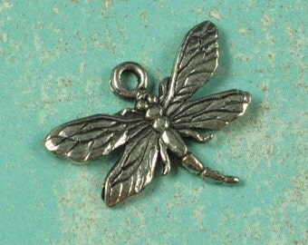 6 Antique Silver Dragonfly Chrams Jewelry Making Supplies 583