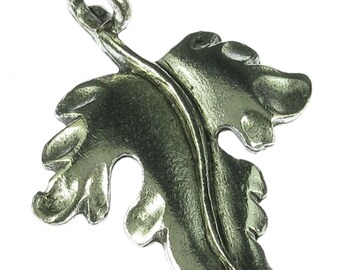 6 Antique Silver Leaf Charm Pendant Jewelry Findings 950