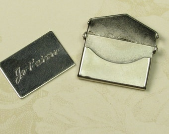 2 Small Antique Silver Brass Message Envelope Je T'aime Letter Envelope Finding 746J