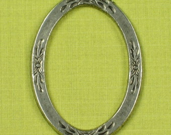 4 Antique Silver Oval Connectors Jewelry Findings 385