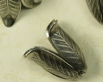 2 Antique Silver Brass Leaf Leaves Bead Cap Large 825