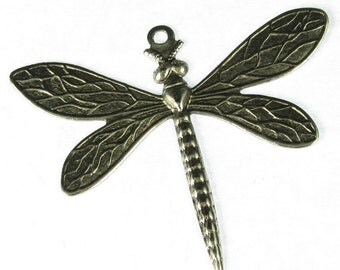 6 Antique Silver Dragonfly Charm Jewelry Findings 425