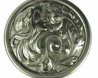 4 New Antique Silver Art Nouveau Lady and Flower Embelishment 563