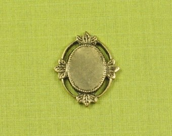 6 Antique Gold (Brass) No Hole Cameo Setting 8x6 Jewelry Findings 461