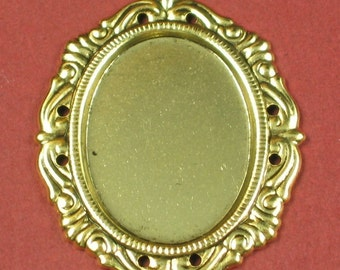 6 Antique Gold Cameo Setting 25x18 Jewel Findings 181